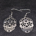 Fashion Hollow Stainless Steel Statement Earrings for Women Skull Silver