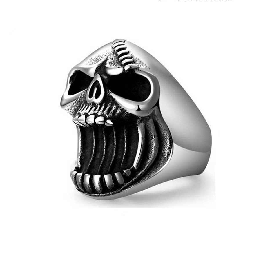 Fashion Jewelry Skull Rings Gothic Biker Punk Vintage Scar Jaw Stainless Steel Mens Ring Beer Bottle Opener For Men