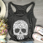 Fashion Tank Tops Women Floral Shugar Skull Print Tank Tops Female Sleeveless Loose Summer Casual Dark Grey Ladies Tops