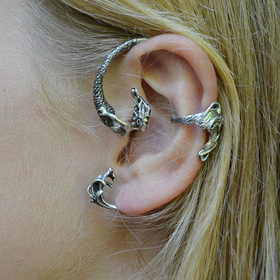 Latest Mermaid Punk Style Metal Ear Cuff Personalized Design Old Silver Color Piercing Earring Jewelry