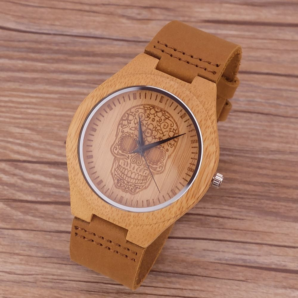 New Arrive Men Wood Watches Design Flower Skull dial Genuine Leather Band Bracelet Handmade Bamboo Wooden Watch for male