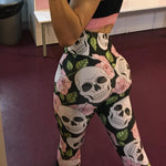 New Female Sport Leggings High Waist Leggins Women Yoga Pants Skull Elastic Fitness Trousers Gym Sportswear Tights
