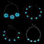 New Fluorescent Luminous Flower Star Heart Charm Bracelets For Women Lover Bangles Party Fashion Glow In Dark Jewelry Gift