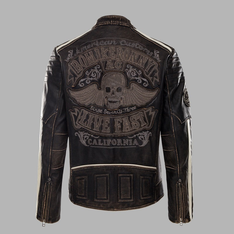 New Vintage Black Motorcycle Leather jacket Men Back skull Embroidery Thick Cowskin Biker Jacket Winter Coats S-XXXL