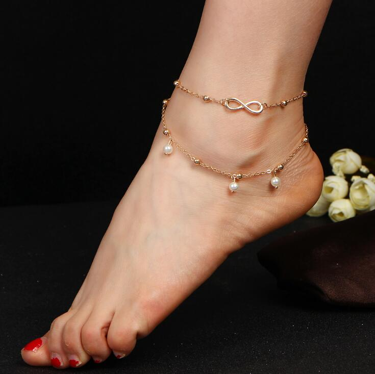 New Vintage Punk Anklet Fashion Bead Tassel Bracelet For Women Ladies Beach Ankle Chain Tassel Foot Chain Anklets