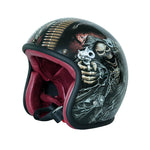 Unique custom Fiberglass motorcycle Double gun skull helmet 3/4 open face Retro motorcycle Capacete Casco DOT