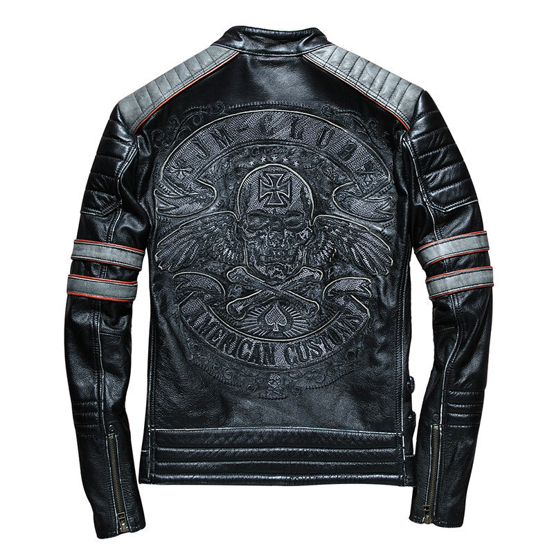 Vintage Black Men Skull Embroidery Biker's Leather Jacket Plus Size 3XL