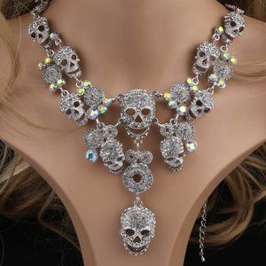 Skull Pendant Crystal Chokers Skeleton Necklaces