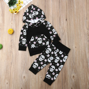 Newborn baby sugar skull clothes suit hooded sweater top+ pants