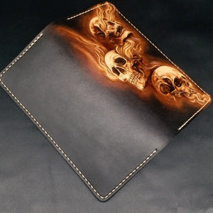 Handmade Wallets Carving Three Skulls Purses Men Long Clutch Vegetable Tanned Leather Wallet Card Holder