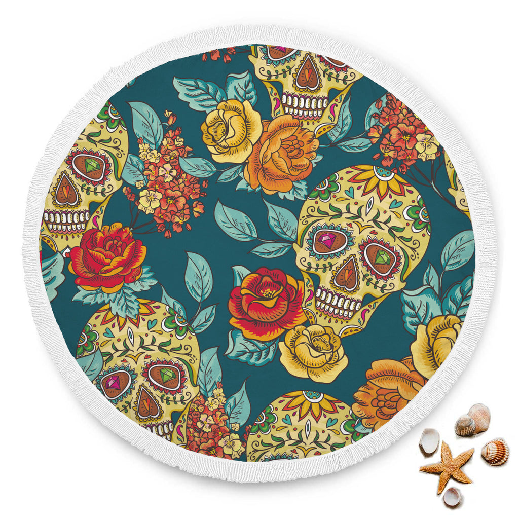 Beautiful sugar skull beach towel