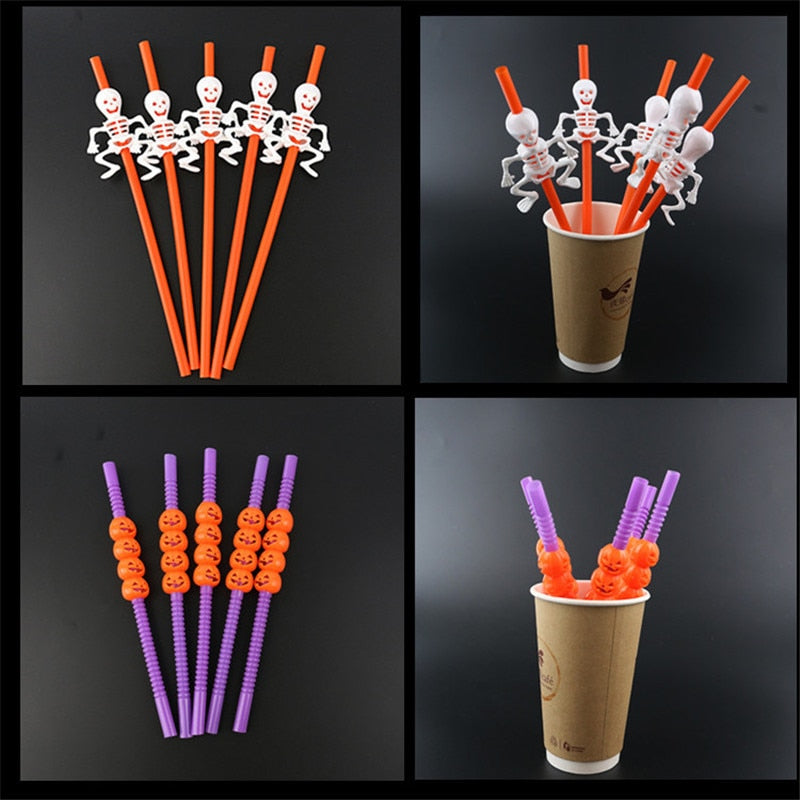 20pcs Halloween Cartoon Skull/Pumpkin Drinking Straws Halloween Holiday