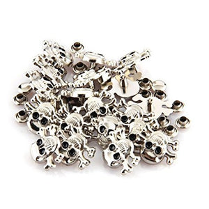 "100 pcs Silver 0.6x0.7"" Skull Leathercraft DIY Punk Skeleton Rapid Studs Rivets"
