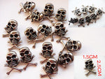 100 pcs 1.5*2.5cm Silver Skull Rivet with Black Eyes Punk Rock Spike Fashion DIY Skeleton Stud decorative Garment Rivets