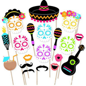 21 Pcs/set Creative Cinco de Mayo Photo Booth Props Mexico Party Party Supplies Day of The Dead Party Decoration