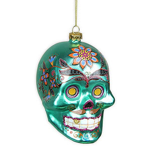 Day of the Dead Skull Halloween Ornament in Green