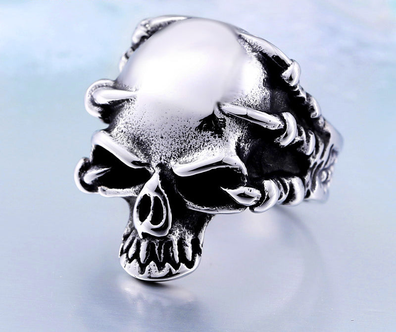 316L Stainless Steel Jewelry Men's Gothic Punk Claw Thingking Skull Skeleton Rings BR8-049 US Size