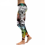 New Arrival Skull Head Women Leggings Letter Gradient Digital Print Pants