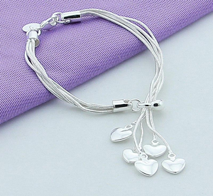 925 Sterling Silver Bracelet Love Bracelet Hook Five Heart High Quality Jewelry Accessories Plated Silver Bracelet