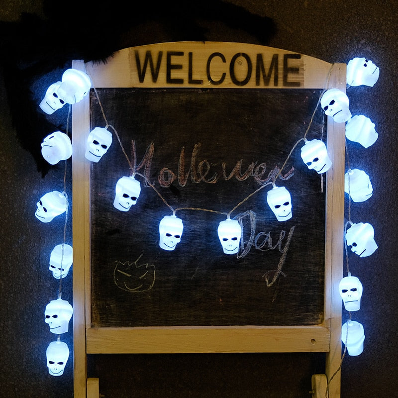 2M 20LED Halloween String Light Decoration Led Eyeball Pumpkin Skull Bat Garden Battery Holiday Easter Christmas Tree Home Decor
