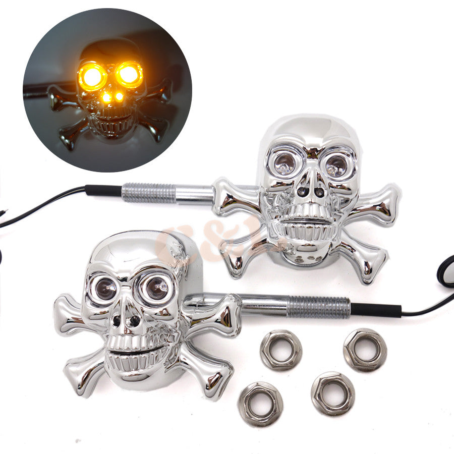 2X Motorcycle Chrome ABS Skull LED Turn Signal Lights For Harley CUSTOM CAFE Crusier Chopper