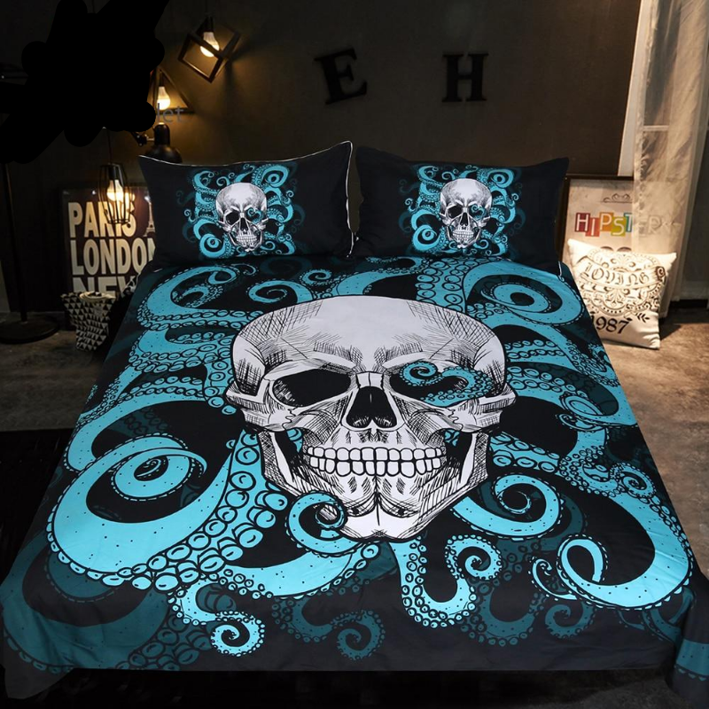 Octopus and Skull Bedding Set Blue 3-Piece