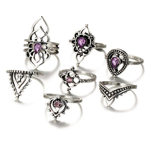 Retro Flower Infinite Knuckle Rings For Women Vintage Geometric Pattern Crystal Rings Set Party Bohemian Jewelry 13 PCS/Set