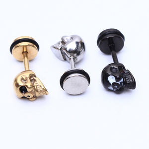 2pcs Fashion Earrings Stainless Steel skull earrings for Men Women Piercings skeleton Studs earring Body Jewelry