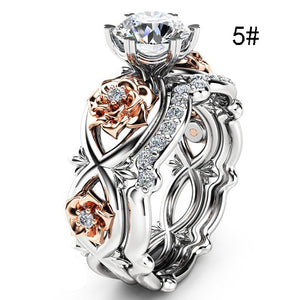 2pcs Set Crystal Wedding Rings Rhinestone Rings for Women Infinity Love Rose Flower Ring Full Size anillos mujer Silver Color