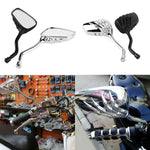 2pcs! Universal Motorcycle Side Rear View Mirrors Pair Chrome SKELETON Skull HAND Claw 8mm 10mm Motorbike Rearview Mirror