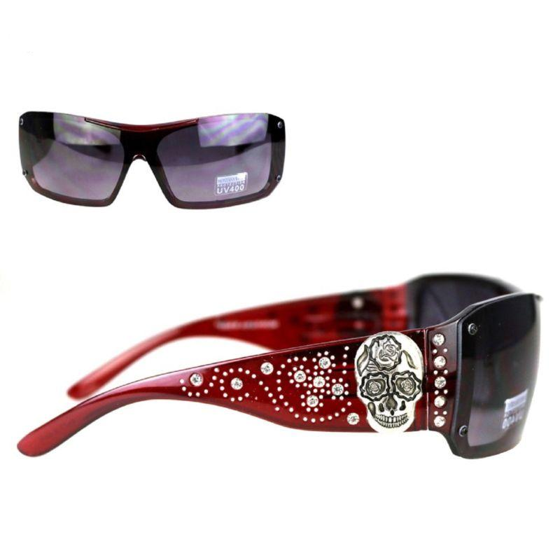 Montana West Sugar Skull Collection Sunglasses Red/Silver