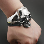 316L Stainless Steel Huge Heavy Skull Mens Biker Rocker Punk Bracelet Bangle Cuff