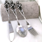316L Stainless Steel Skull Fork/Spoon Tableware Cutlery Spoon Fork Sets Dining Forks Bento Accessories Kitchen Goods Garfo