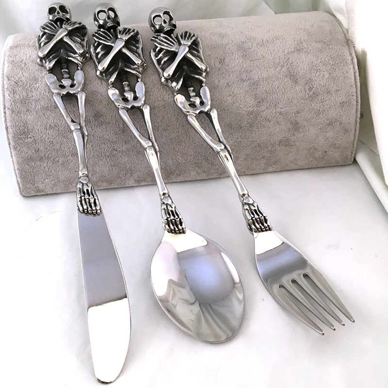 Set of 3 pcs Stainless Steel Skull Fork/Spoon/Knife