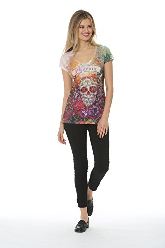 Sweet Gisele Womens Phoenix Souvenir Sugar Skull Day Of The Dead Graphic Printed T Shirt Top