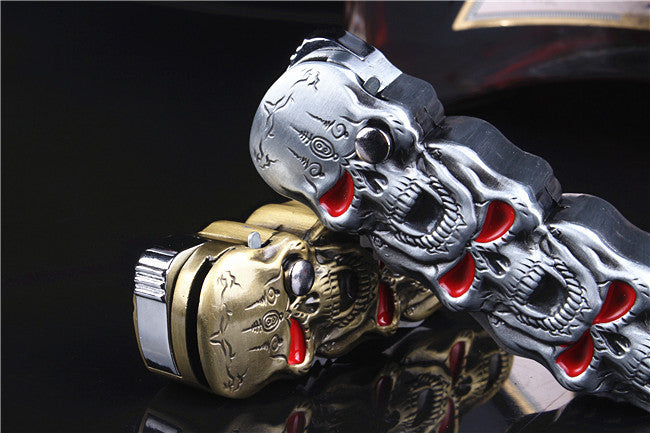 Skull Folding Refillable Butane Gas Jet Flame Cigar Cigarette Lighter