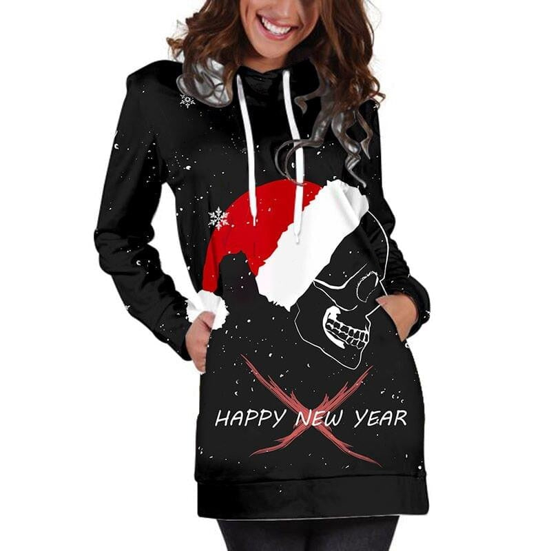 3D Hoodies Women Melted Christmas Skull Full Print Novelty Hoody Sweatshirt