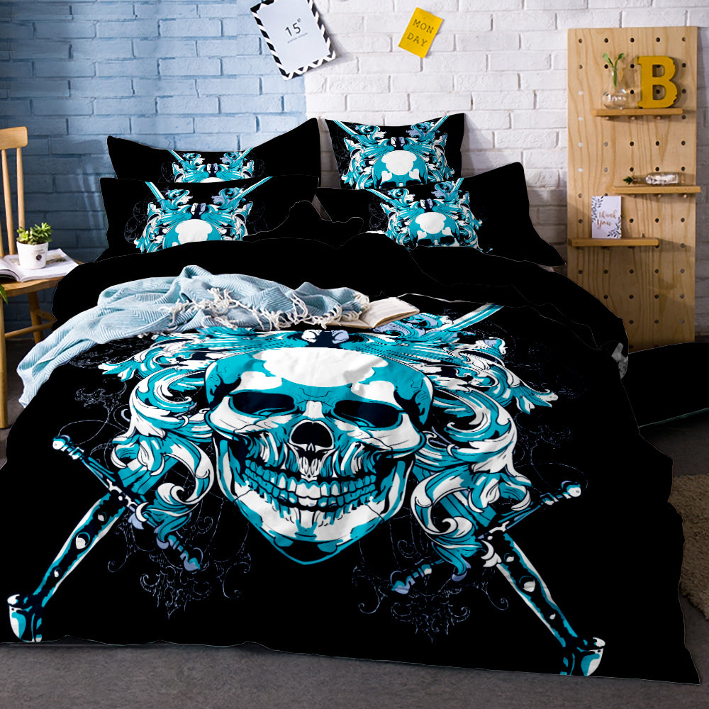 3D Printed Skull Bedding Set King Size Sugar Skull Print Duvet Cover Set with Pillowcase AU Queen Bed Best Gift Bedline