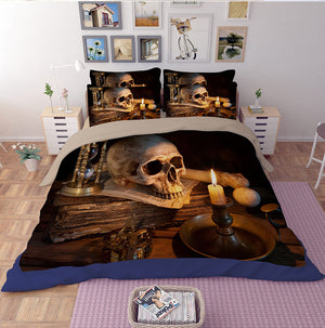 3D Skull Bedding set Cotton Blend Duvet Cover Set Full/Queen/King Size Bedspread Sugar Flower wedding gifts party favors