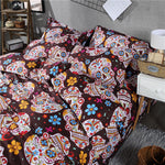 3D Skull Bedding sets Colorful Flower with Skull Duvet Cover Set for Twin Queen King Size Halloween Sugar Skull Bedding Set