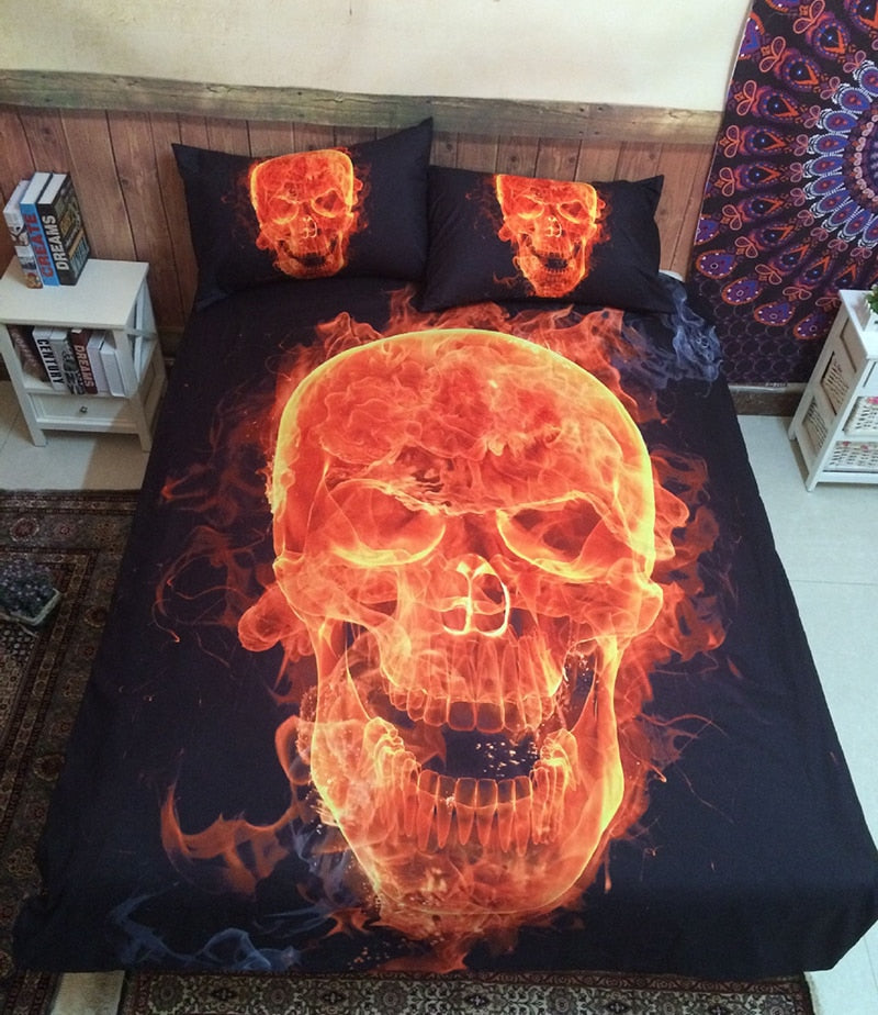3D Skull Bedding sets Fire Skull head 3pcs Bed Linen Duvet Cover
