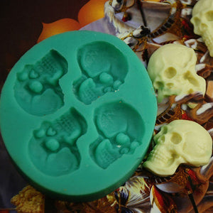 3D Skull Head Silicone Fondant Cake Mold Chocolate Halloween Party DIY Tools