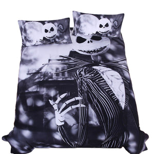3D Sugar Skull Comforter Bedding Set King Queen Size Xmas Nightmare Christmas Bed Duvet Covers Single Black Sheets Set Linen