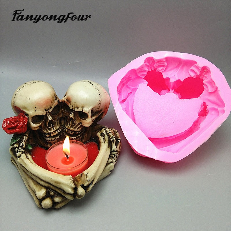3D skull candlestick silicone mold fondant cake mold