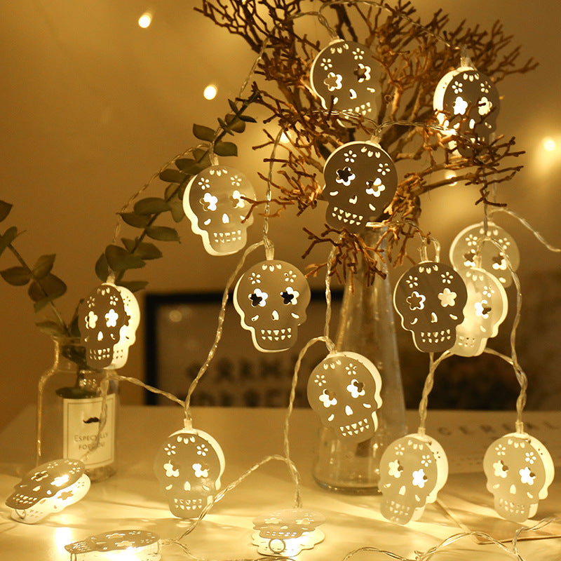 3M Battery Operated Halloween White Hollow Metal Skull LED String Lights