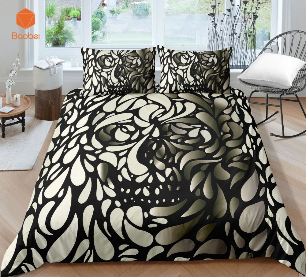 3Pcs 3D  Skull Bedding Set  With Pillowcases Duvet Cover Quilt Cover For Kids Queen King Sizes Bedspreads