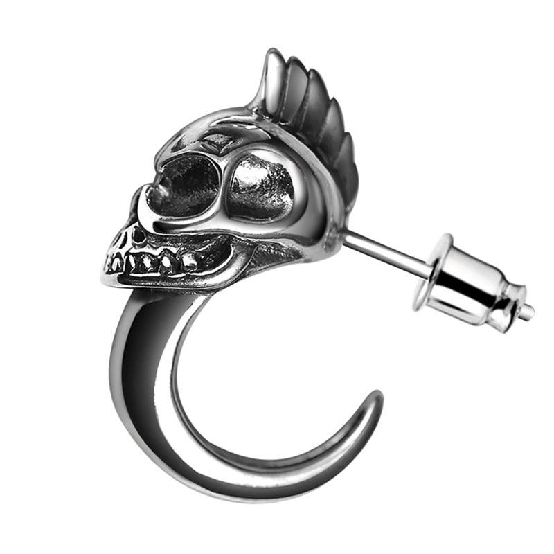 925 Sterling Silver Skull Stud Mens Earrings Vintage Black Earring Men Punk Skeleton Studs For Men Biker Jewelry 1pcs