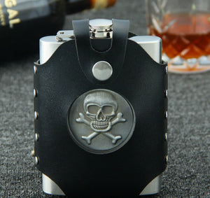 8 oz stainless steel SKULL hip flask with bag