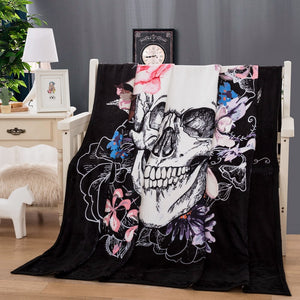 3d Skull Blanket for Beds Thin Quilt Fashionable Bedspread 150x200cm Fleece Throw Blanket