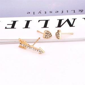3pcs/set Gold Color Crystal Small Stud Earrings for Women Romantic Arrow Heart Earrings Cute Jewelry Christmas Gift brinco